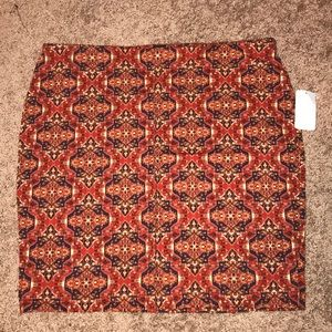 Forever21+ Rust and Navy Printed Skirt